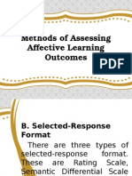 3  methods of assessing affective learning outcomes