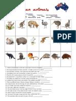 Aussie Animals Worksheet