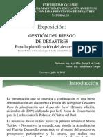 GESTIÓN DEL RIESGO DE DESASTRES Para la planificación del desarrollo local