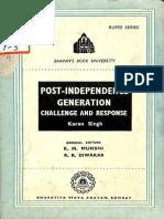 Post Independence Generation Challenge and Response - Karan Singh