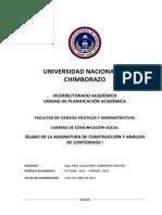 Silabo Análisis y Construcción de Contenidos I Octubre 2015