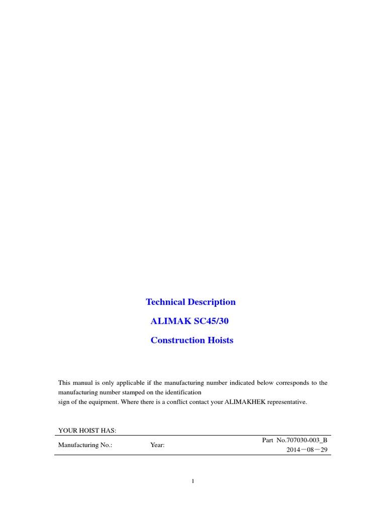 ALIMAK SC45-30 - Technical Description - Construction Hoist | Power Supply  | Crane (Machine)