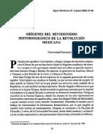 MATUTE_Revisionismo Historiografico de La Rev Mexicana
