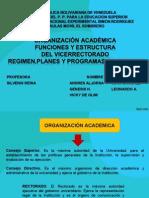 Organización académica Funciones y estructura del vicerrectorado UNESR