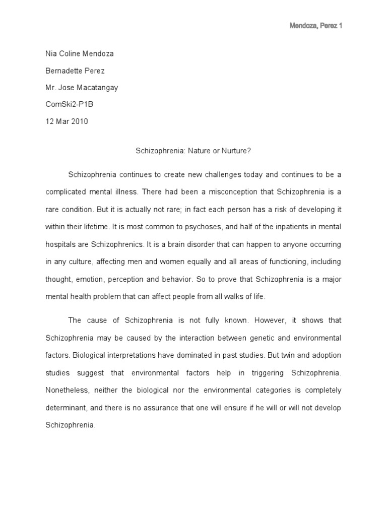 schizophrenia research paper thesis Aim of this essay is to clarify the current viewpoint on what causes schizophrenia current research into schizophrenia has remained highly fragmented, much like the clinical presentation of the disease itself further research seems necessary in order to understand the.
