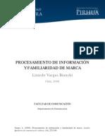 PROCESAMIENTO DE INFORMACIÓN Y FAMILIARIDAD DE MARCA