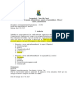 2a.avaliação Comportamento Organizacional UFC 2015.1