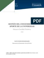GESTIÓN DEL CONOCIMIENTO Y APORTE DE LA UNIVERSIDAD