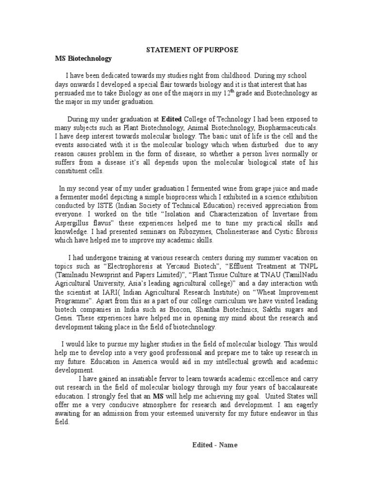 Statement Of Purpose Biotechnology | Biotechnology | Earth U0026 Life Sciences