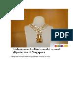 Kalung Emas Berlian Termahal Sejagat Dipamerkan Di Singapura