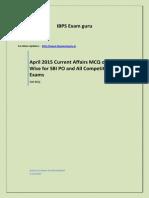April 2015 Current Affairs