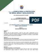 LEY ORGANICA PARA LA PROTECCION DE NIÑOS, NIÑAS Y ADOLESCENTES
