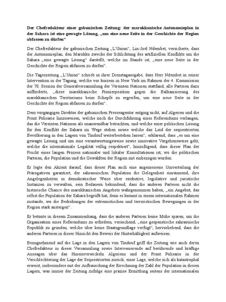 Der Chefredakteur Einer Gabunischen Zeitung Der Marokkanische ...