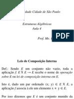 Estruturas Algébricas - Aula 4 - Leis de Composição Interna