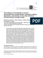 The influence of sensitivity to reward and punishment, propensity for sensation seeking, depression, and anxiety on the risky behaviour of novice drivers