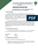 Memoria Descriptiva Distrito de Ocoruro - c.c. Huisapata
