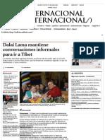 Dalai Lama Mantiene Conversaciones Informales Para Ir a Tíbet
