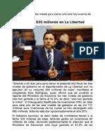 CONGRESISTA ELIAS RODRIGUEZ ZAVALETA PREOCUPADO POR EL PORCENTAJE DE GASTO PUBLICO EJECUTADO EN LA LIBERTAD