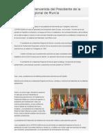 Palabras de Bienvenida Del Presidente de La Asamblea Regional de Murcia