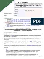 DS. 047-2002-PCM - Aprueba normas sobre autorización de viajes al exterior de funsionarios