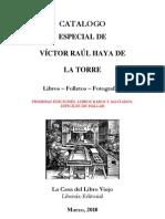 CATALOGO ESPECIAL DE VÍCTOR RAÚL HAYA DE LA TORRE Libros – Folletos – Fotografías