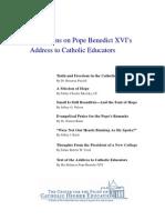 Reflections on Pope Benedict XVI's Address to Catholic Educators