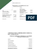 Estado Para El Banco Al 31 de Marzo Del 2013
