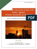 Consumo de Cemento Crece 5.6%