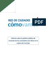 Informe Nacional Sobre Reciclaje Inclusivo, 2014