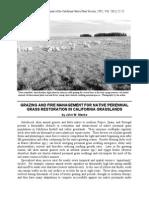 33. Grazing and fire management for native prerennial grass restoration in California grasslands