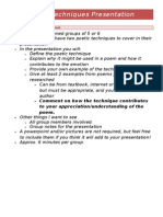 poetic techniques presentation task sheet
