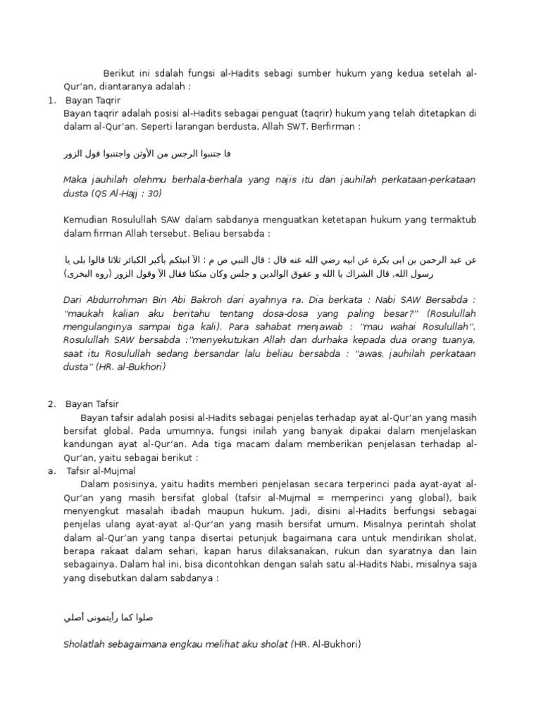 Fungsi Hadis Terhadap Al Quran