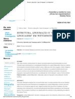 """Estrutura, Afiguração e """"Jogos de Linguagem"""" Em Wittgenstein"""