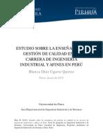 Ugarte (2013) Estudio Sobre La Enseñanza de Gestión de Calidad en La Carrera de Ingenieria Industrial y Afines en El Peru