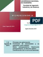 Clase 2 Principio Optimización Recta Presupuestal
