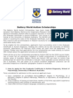2016 Battery World Autism Scholarships - Information Sheet