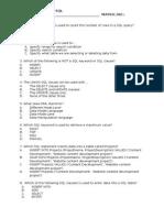 SQL-Multiple Choice Question