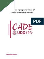 Principios y Programa Lista 1 CADe UDD