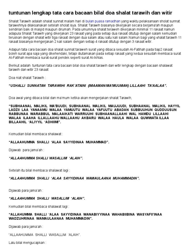 Tuntunan Lengkap Tata Cara Bacaan Bilal Doa Shalat Tarawih ...