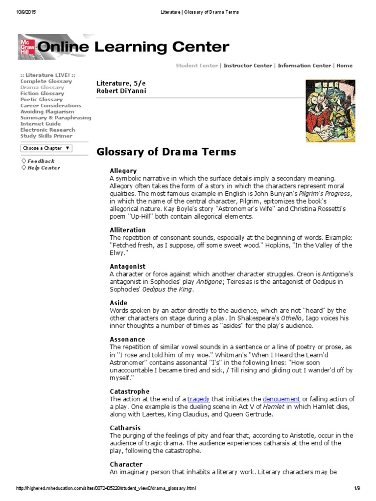 Literature Glossary Of Drama Terms Tragedy Poetry