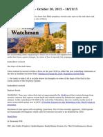 Weekly Watchman – October 20, 2015 – 10/21/15