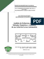 Analisis de Esfuerzos Por Los Metodos Numerico y Analitico de Un Arbol de Levas Automotriz