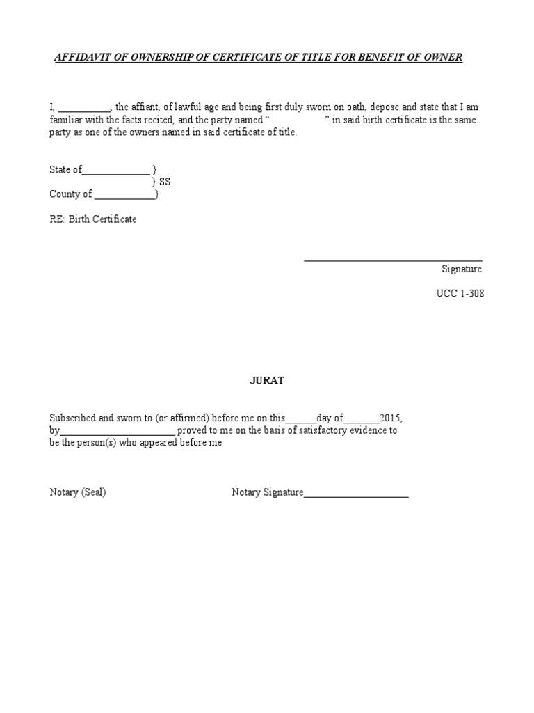 Birth Certificate Affidavit Template