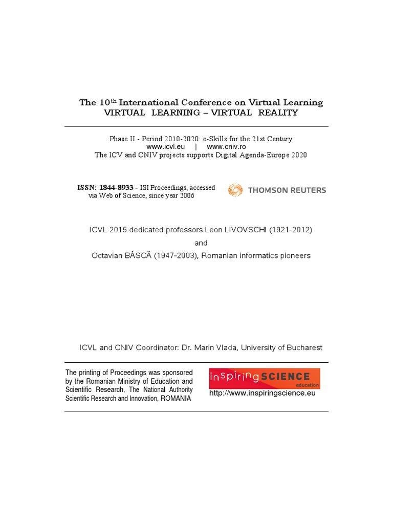 Proceedings of icvl 2015 issn 1844 8933 isi proceedings proceedings of icvl 2015 issn 1844 8933 isi proceedings educational technology virtual reality fandeluxe Gallery