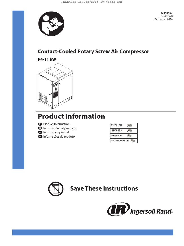 R Series Air Compressor Operators Manual | Clothes Dryer | Gas Compressor
