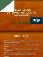 Aplicatiile Determinantilor in Geometrie