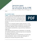 Inicia El Proceso Para Seleccionar Al Rector de La UPR