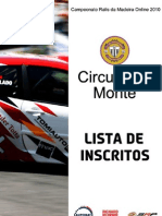 Lista de Inscritos Circuito do Monte 2010