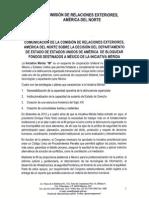 Comunicado de  Comisión de Relaciones Exteriores América del  Norte Iniciativa Mérida