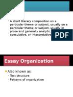 1 ~ ESSAY ORGANIZATION